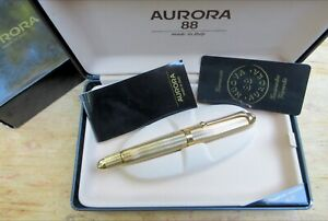 New Aurora 88 Lined Heavy Gold Plated Executive Fountain Pen - BROAD 14K 802 88R