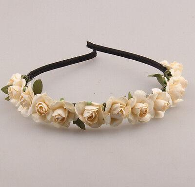Rose Flower Crown Festival Headband Wedding Garland Floral Hairband Accessories