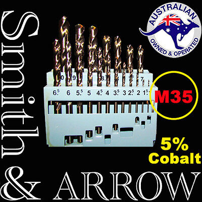 19PC HSS TWIST DRILL BIT SET M35 COBALT METAL STEEL METRIC HIGH SPEED SHANK 10mm