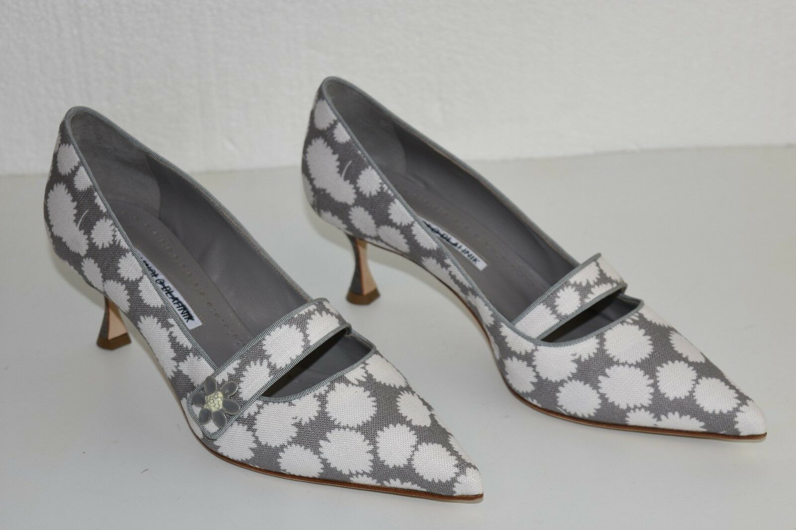 NEW MANOLO MANOLO MANOLO BLAHNIK BB Heels PUMPS MARY JANE gris blanc Canvas  chaussures 40 40.5 41 21591f