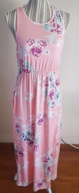 Sleeveless XL Coral Floral Print Scoop Neck Full Length Beach Dress with Pockets