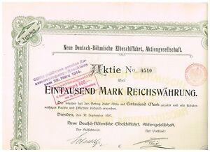 Neue-Deutsch-Boehmische-Elbeschiffahrt-AG-Dresden-1907-1000-Mark