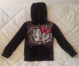 c0459349d Sz M 7/8 Girl's Kid's Black velour Hello Kitty winter Sweater pre ...