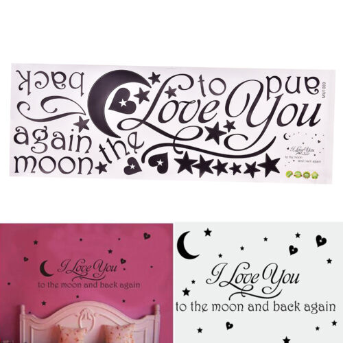 I Love You To The Moon And Back Decals Lettering Words Wall Stickers Home DecoNS