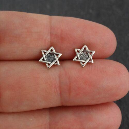 Jewish Israel Stud Earrings Post Star of David Earrings 925 Sterling Silver