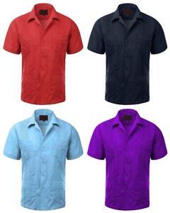 Guayabera-039-s-Men-039-s-Short-Sleeve-Casual-Cuban-Beach-Bartender-Dress-Shirts