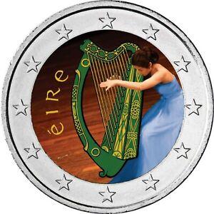 Irland-2-Euro-Harfe-Kursmuenze-Harfenspielerin-in-Farbe