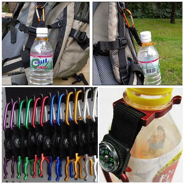 Useful Carabiner Water Bottle Holder Buckle Hook Clip For Camping Hiking Outdoor