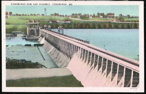 CONOWINGO-MD-Dam-amp-Highway-Vintage-Maryland-Postcard-Old-PA-Linen-PC