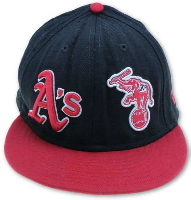 fc6887d2 Oakland Athletics 59 Fifty New Era Baseball Cap Hat Elephant Logo Black Red  Sz 8