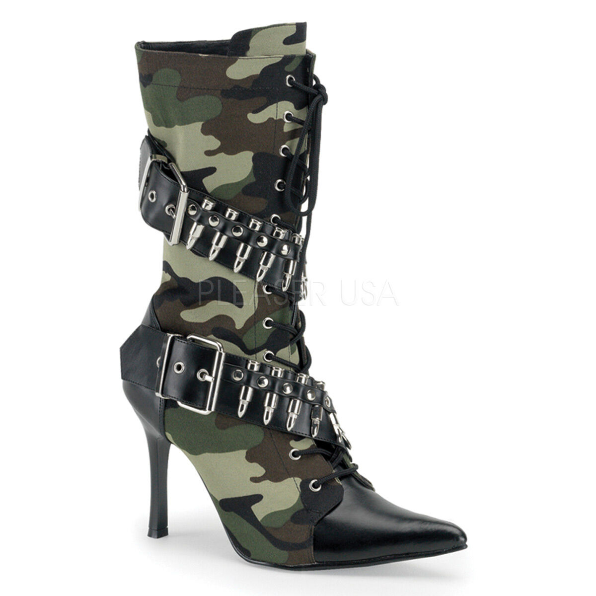 SALE Pointed Toe Army Soldier Militant Damens Halloween Costume Calf Stiefel 12