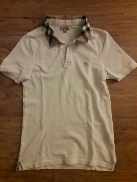 BURBERRY London Womens Polo Shirt Short Sleeve Top Collared White Size XS