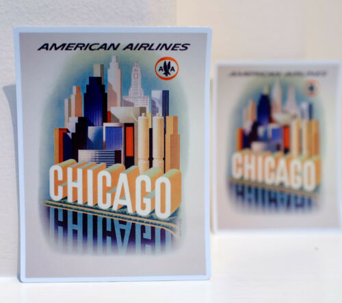 "#3494 Chicago American Airlines Travel Vintage 4x3/"" Luggage Label Decal Sticker"