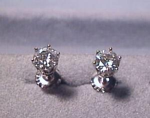 df3eb69e3 Moissanite Earrings 1 carat twt Screwback 14K White 6 prong Charles ...