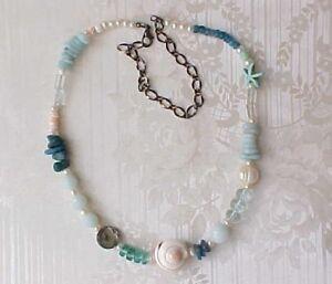 Beach-Necklace-Sundance-Asymmetrical-Gemstone-Choker-Aqua-Blue-Gypsy-Coral-Pearl