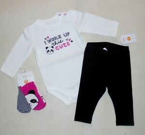Gymboree-Baby-Girls-Panda-Tee-Socks-Leggings-3-6-Months-NWT