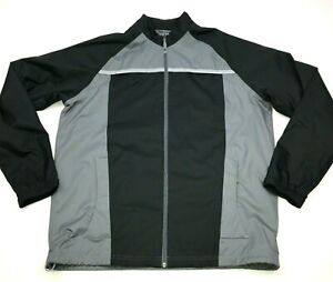 Adidas-Jacket-Size-Large-L-Adult-Black-Gray-Windbreaker-Full-Zip-Climaproof-Mens