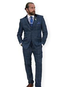 Hommes-3-Piece-Costume-Bleu-CAVANI-Tweed-Slim-patraque-oeilleres-vintage-Miles