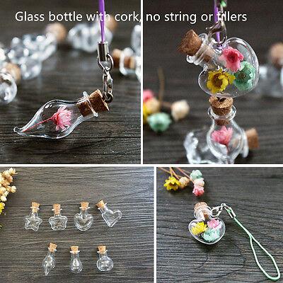 10 PCS Mini Clear Cork Stopper Storage Glass Bottles Vials Jars Wishing Bottles