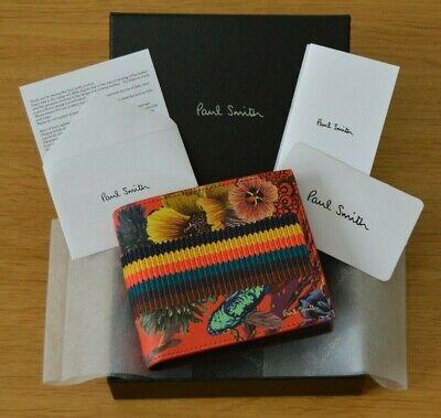 2019 Neuestes Design Paul Smith Artist Stripe Japanese Koi Fish Hawaiian Floral Red Leather Wallet