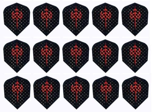 15 Flights 5 Sets of Harrows Dimplex Standard Dart Flights Black Red Tribal