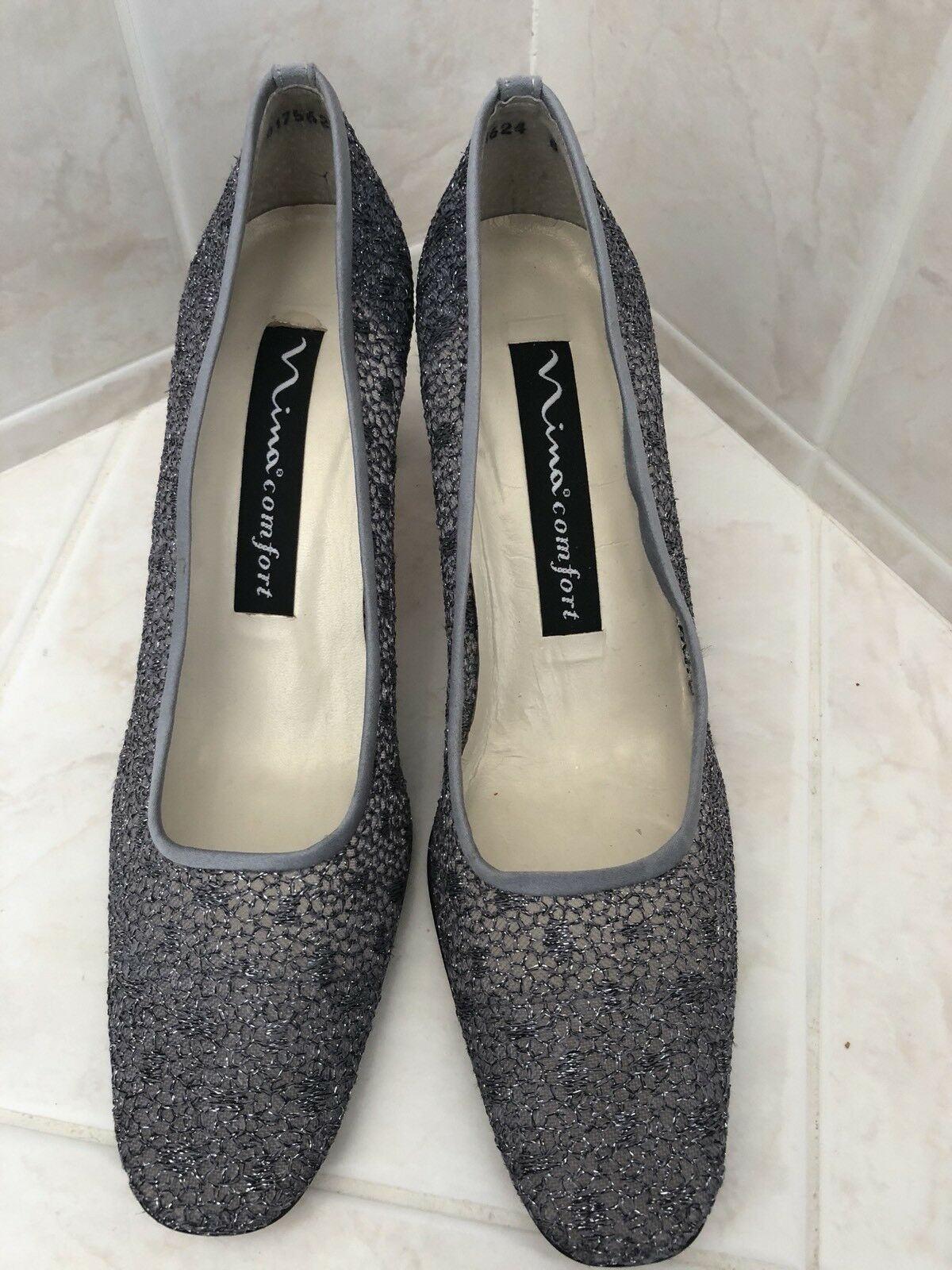 Nina Comfort Ladies Closed Silver Pumps, 8 Med. Dark Silver Closed Leather Sole, 2.5