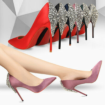 New Back Buckle Rhinestone Satin Pointed Toe Pumps High Heels Women Bridal Shoes