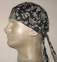 Paisley Or Solid Durag Skull Cap Do Rag Biker Doo Fitted Bandana Head Wrap