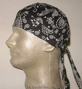 b74b81c8b04 PAISLEY or SOLID durag skull cap do rag biker doo fitted bandana ...