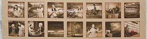 Wizard-of-Oz-Under-the-Rainbow-14-PHOTO-SQUARES-11-inch-Panel-Sepia-OOP-Fabric