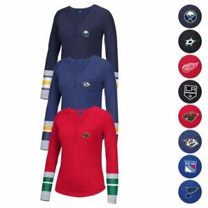 NHL-Reebok-Various-Striped-Henley-3-Button-Team-Logo-Long-Sleeve-T-Shirt-Women-039-s