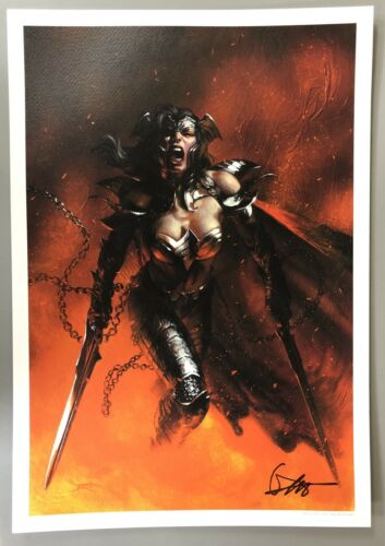 Euro Exclusive Full Color Litho WONDER WOMAN SIGNED by GABRIELE DELL/'OTTO