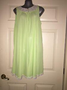 Detalles De Vestido De Noche Vintage Sears Roebuck Verde Nylon Corto Lencería Talla L 38 40 Ver Título Original