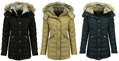 Geographical Norway Damen Winter Jacke Parka Fell Kapuze Jacke Steppmantel | eBay