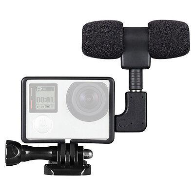 Pro External Microphone Mic + Adapter + Standard Frame Kit for GoPro Hero 4 3+ 3