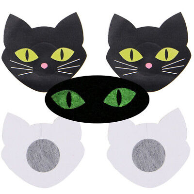 Pair Lady Sexy Stick On Pasties Breast Nipple Cover Black Kitty Cat Glowing Eyes