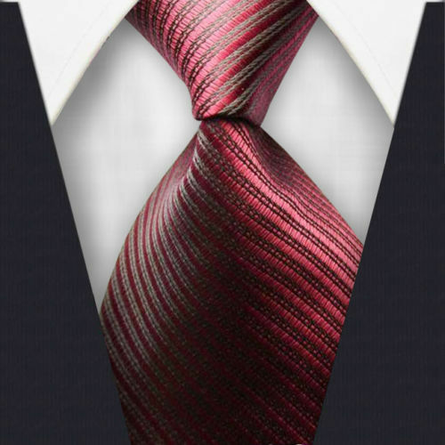 Men Silk Neck Tie Necktie Classic Woven Paisley Pink Stripe US USA Seller NEW