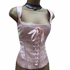 KAREN MILLEN Blush Pink Oriental Satin Lace Ribbon Party Corset Top Blouse 14 UK