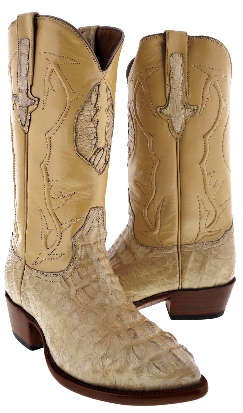 Mens Rustic Sand Genuine Crocodile Exotic Rodeo Leather Hornback Cowboy stivali