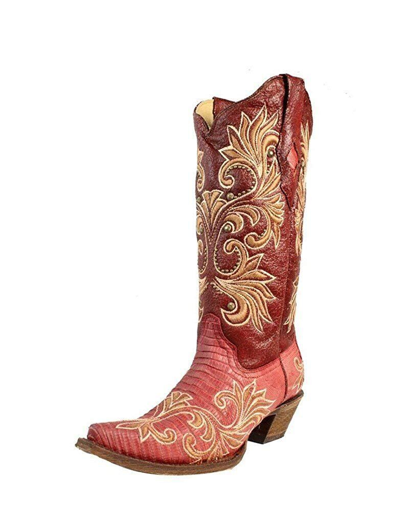 CORRAL Western Boots Exotic Womens Lizard Leather Cowboy Snip Red A3378