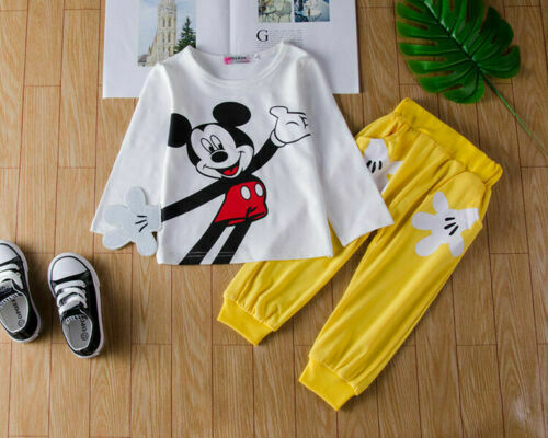 2Pcs Toddler Baby Girls Mickey Outfits Short Sleeve Tops+Pants Kids Outfits Sets
