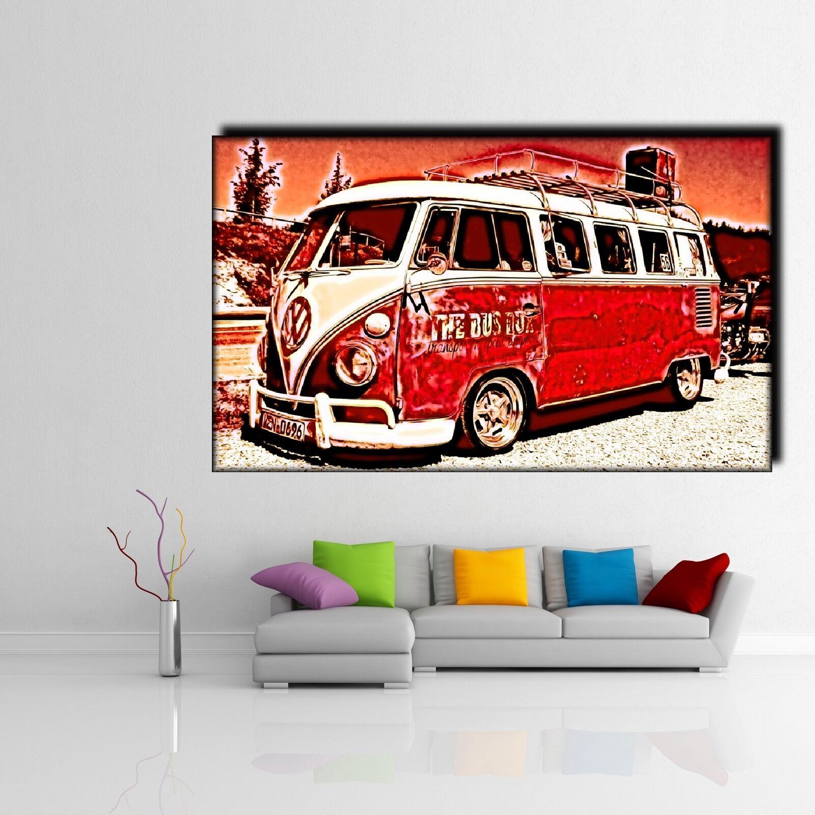 LEINWAND BILD ER XXL POP ART VW BULLI BUS BULLY T1 VAN ABSTRAKT POSTER 150x90