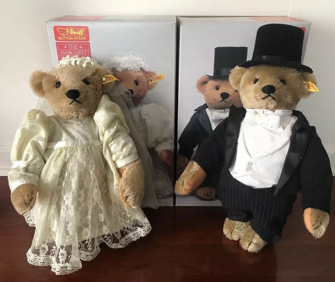 NEW Set (2) Steiff BRIDE & GROOM 14  Wedding Party BEARS Mohair 155.36.37 NIB