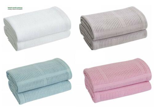 100/% Cotton Cellular Soft Baby Boys Girls Blanket for Cot Pram Moses Basket