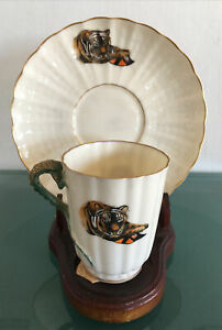 RARE MASONIC BELLEEK WILLETS Art Nouveau Tea Cup & Saucer - Brown Serpent Mark