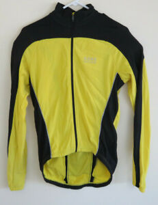 Gore-Homme-Bike-Wear-Veste-Zip-Complet-Cyclisme-Riding-Gear-Jaune-Poches-Taille-SM
