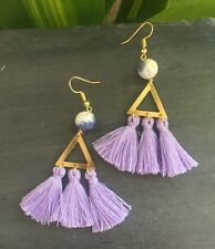 One Of A Kind Lavender Tassels Brass Triangle Blue White Sodalite Gold Earrings