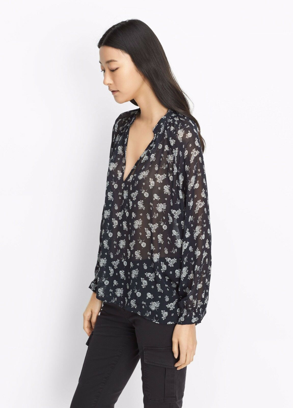 NWT  Vince Calico Floral Shirrot Neck Blouse; S