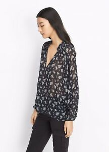 33f39061be5863 Image is loading NWT-345-Vince-Calico-Floral-Shirred-Neck-Blouse-