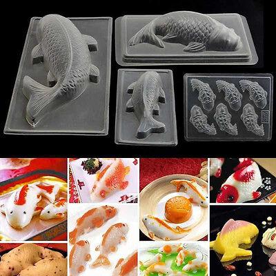 3D Koi Fish Plastic Cake Chocolate Mould Jelly DIY Handmade Sugar Craft Mold